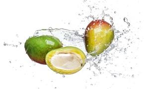 Картинка вода, брызги, белый фон, манго