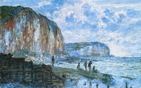 Картинка люди, картина, пирс, морской пейзаж, Клод Моне, Скалы Ле Петит Даля