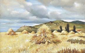 Картинка поле, пейзаж, горы, картина, Марсель Диф, Стога