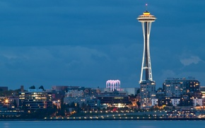 Картинка city, город, lights, огни, вечер, залив, Вашингтон, Сиэтл, USA, США, Space Needle, evening, Washington, bay, …