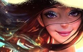 Картинка шляпа, арт, улыбка, лицо, волосы, девушка, лето, глаза