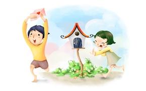 Картинка облака, цветы, рисунок, мальчик, девочка, скворечник, конверт