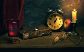 Картинка часы, свеча, кольцо, книга, Time immortal