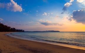 Картинка пляж, облака, вечер, прибой
