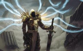 Картинка меч, руины, архангел, Diablo 3, тираэль, Диабло 3