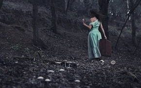 Картинка девушка, лес, чемодан