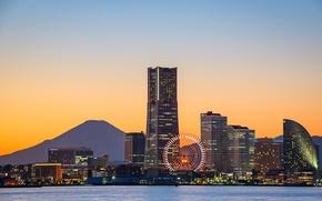 Картинка залив, колесо обозрения, bay, Yokohama, Fuji, ferris wheel