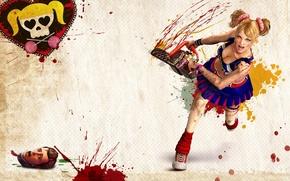 Картинка девушка, кровь, голова, электропила, Lollipop chainsaw