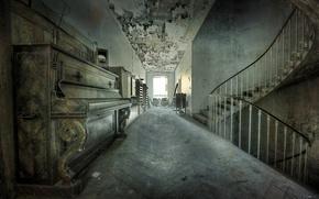 Обои фон, лестница, пианино