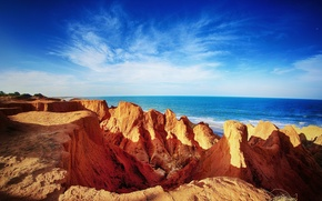 Картинка море, пляж, облака, скалы, горизонт, Бразилия, голубое небо, Сеара, Beberibe