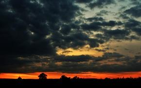 Обои небо, облака, закат