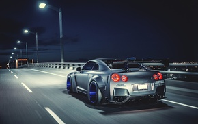 Картинка Nissan, GT-R, Car, Speed, Tuning, Road, Wheels, Spoiler, Rear, Liberty Walk, Nigth, LB Perfomance