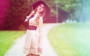 Обои шляпа, фон, лицо, девушка, лето, красавица, Tatiana, платье