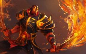 Картинка оружие, огонь, воин, арт, мечи, Dota 2, Xin, Ember Spirit