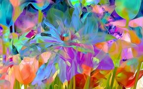 Обои цветы, лепестки, луг, сад, рендеринг
