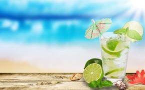 Обои стакан, зонтик, лайм, ракушки, морская звезда, мохито