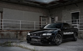Картинка nissan, black, skyline