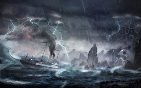 Картинка волны, шторм, скалы, молния, корабль, остров, буря, катастрофа