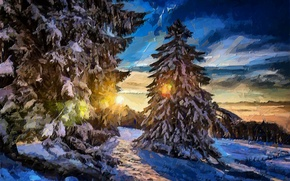 Картинка зима, лес, солнце, лучи, снег, деревья, пейзаж
