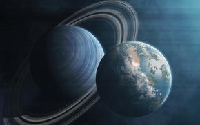 Картинка вселенная, планета, спутник, кольца