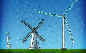Обои 154, ветряк, человечки, ветер, мельница, сачок
