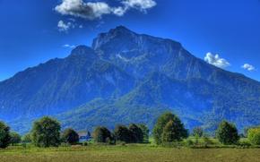 Картинка поле, небо, деревья, горы, синева, Австрия, Anif