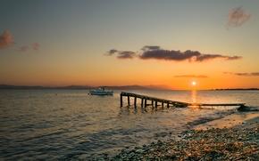 Картинка море, берег, лодка, вечер, причал