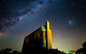 Картинка космос, звезды, ночь, здание, млечный путь