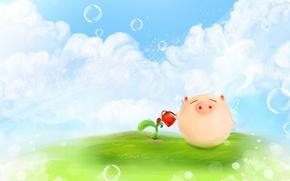 Картинка облака, пузыри, рисунок, растение, росток, крылья, позитив, луг, свинья, лейка, хрюшка, поросенок