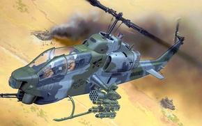 Картинка рисунок, арт, танк, США, Cobra, Helicopter, Bell, Super, ударный вертолёт, КМП, семейство американских двухдвигательных боевых …