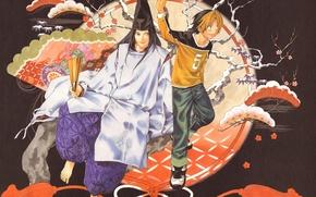 Картинка шапка, джинсы, веревка, сакура, веер, кимоно, парни, hikaru no go, fujiwara no sai, hikarru shindo, …