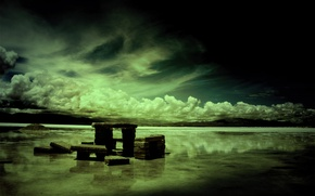 Обои озеро, каменные плиты, облака, Dark Harmony