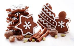 Картинка Новый Год, печенье, орех, Рождество, сладости, корица, Christmas, звездочки, фигурки, выпечка, праздники, орешки, New Year, …