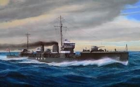 Картинка корабль, арт, флот, военный, японский, эсминец, WW2, IJN, Wakatake