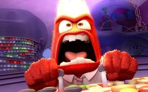 Картинка мультфильм, animation, Disney, Pixar, Головоломка, эмоция, Anger, Inside Out, Гнев