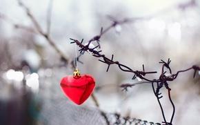 Картинка фон, сетка, праздник, widescreen, обои, забор, размытие, ворота, wallpaper, форма, red, holidays, красная, сердечко, heart, …