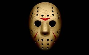 Картинка маска, Friday the 13th, Jason Voorhees, черный фон, Джейсон Вурхиз, Пятница 13-е