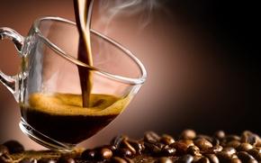 Обои кофе, чашка, кофейные зерна, аромат, coffee, Cup, coffee beans, aroma