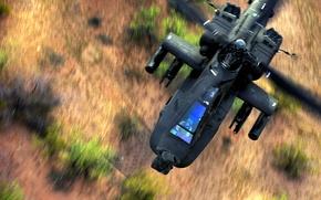 Картинка пилот, полёт, вертолёт, boeing, лопасти, apache, helicopter, апач, штурман, торсионы, AH-64