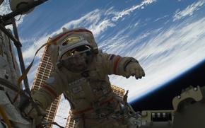 Картинка космос, мкс, космонавт, россия