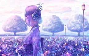 Картинка небо, девушка, облака, деревья, природа, аниме, наушники, арт, фонари, кимоно, bounin