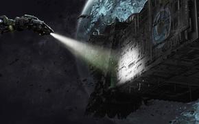 Картинка свет, фантастика, корабль, планета, арт, галактика, sci-fi