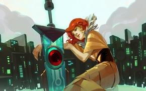 Картинка девушка, город, меч, арт, Red, рыжие волосы, Transistor, JenZee