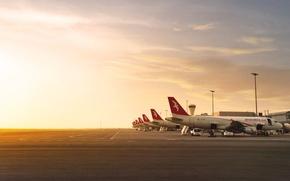 Картинка Закат, Самолет, Свет, Аэропорт, Boeing, Авиация, Много, 777, Вид сбоку, Air Arabia