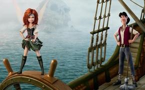 Картинка море, скала, корабль, череп, Феи, Disney, штурвал, сабля, Дисней, Фея пиратка, The pirate fairy, Зарина, ...