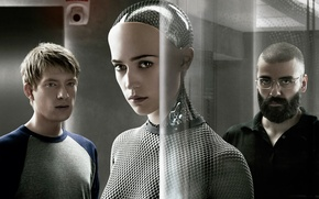 Картинка cinema, girl, glass, prototype, man, movie, face, glasses, film, cyborg, Sci-Fi, Swedish, Irish, 2015, Ava, …