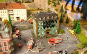 Картинка fire, house, miniature, firefighters