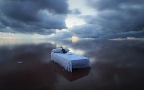 Картинка море, скрипка, кровать