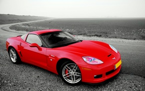 Обои красный, дорога, Chevrolet, Corvette