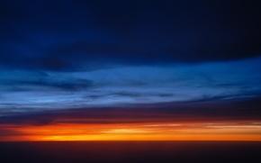Картинка небо, облака, закат, цвет